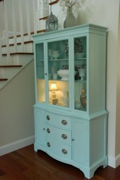 Bird's Egg paint on hutch by Benjamin Moore