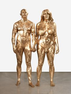 Marc Quinn_Buck and The sculpture of Buck and Allanah is a seemingly recreated version of Adam and Eve yet reconfigured with altered human genitalia. Bronze Sculpture, Sculpture Art, Damian Ortega, Bodies, Marc Quinn, Instalation Art, Adam And Eve, Contemporary Artwork, Middle Ages