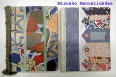 """Libretas grandes decoradas con papel scrap """"Gaudi"""" (a la venta en www.misuenyo.com). La de la izquierda lleva el lomo de hilo trenzado, la de la derecha de cinta de puntilla.  www.misuenyo.com / www.misuenyo.es"""