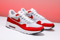 """The Nike Air Max 1 Ultra Flyknit brings the iconic shoe into the future in the iconic """"Sport Red"""" colorway.  https://www.stadiumgoods.com/air-max-1-ultra-flyknit-white-unvrsty-rd-pr-pltnm-cl-g-843384-101?utm_content=bufferc7c86&utm_medium=social&utm_source=pinterest.com&utm_campaign=buffer  #Nike"""