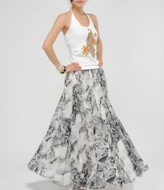 Two Styles Floral Chiffon Skirt Two Styles Floral Chiffon Skirt gift for her - $32.00 : Original Fashion in Comfortable Fibers - Organic Cotton, Linen, Silk, Cashmere, Bamboo and More | Zeniche.com