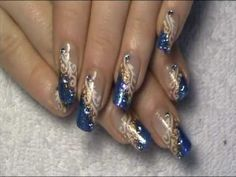 Glittery Blue and Copper Tips White Swirls and Rhinestones Design Nail Art Tutorial