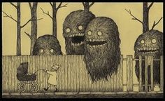 Edward Gorey was the master of understated terrors, and if he'd ever illustrated the madness-inducing monsters of HP Lovecraft, they might look like John Kenn Mortensen's Post-It Monstres, in which horrific beasts loom over remarkably unperturbed kiddies. Monster Art, Creepy Monster, Monster Drawing, Monster Sketch, Edward Gorey, Arte Horror, Horror Art, Art And Illustration, Monster Illustration