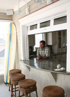 Kitchen bar with garage door window More