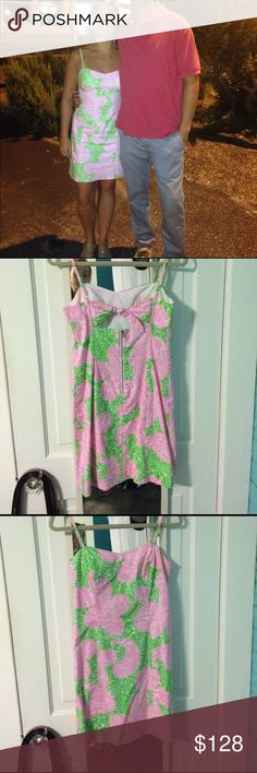 Lilly Pulitzer spring/summer dress! Size 2 Pink and green, adorable dress it just doesn't fit anymore! Worn once, it's been hanging in the closet and hate to see it go to waste. I bought it brand new. Lilly Pulitzer Dresses