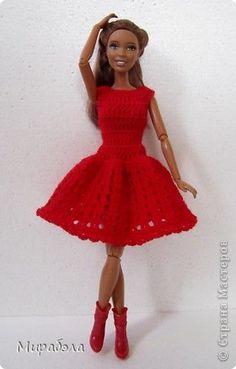 Кукольная жизнь Вязание крючком Красное платье Описание Пряжа