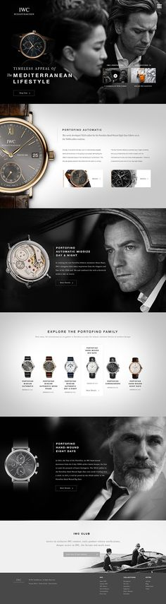 IWC Portofino on Web Design Served - gold male watches, strap watches for mens, gold watches for men sale *ad Website Layout, Web Layout, Layout Design, Website Ideas, Website Design Inspiration, Email Design, App Design, Mise En Page Web, Cv Web