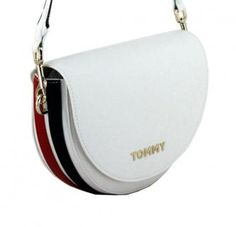 !!!Tommy Hilfiger Staple Saddle corporate Umhängetasche weiss Tommy Hilfiger Damen, Saddle Bags, Fashion, Red And Blue, Script Logo, Artificial Leather, Sachets, Handbags, Moda