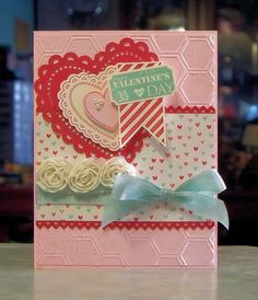 Valentines Day Card using the Hearts a Flutter, That's the Ticket, You & Moi` stamp sets by Stampin' Up, I also used Stampin' Up card stocks, More Amore dsp, inks, hearts a flutter framelits dies, the honeycomb embossing folder, vanilla flower trim, several punches and more.
