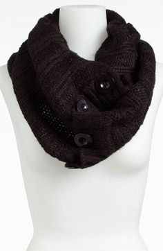 Steve Madden 'Button Up' Infinity Scarf