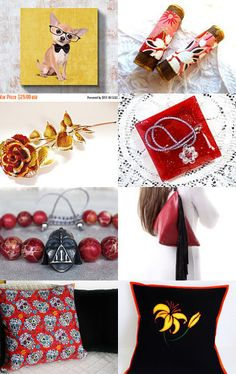 Golds and Deep Reds are Special by V. Dotter on Etsy--Pinned with TreasuryPin.com