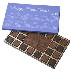Happy New Year 2015 Calendar by Janz Chocolates 45 Piece Assorted #ChocolateBox Calendar Designs by Janz © 2008-2014 Jan Fitzgerald. All rights reserved. Graphic Design, Artwork, & Photography by Jan & Michael Fitzgerald. #HappyNewYear2015 For more like this go to http://www.zazzle.com/calendars_by_janz?rf=238656250999501047&tc=PinPODShoppers