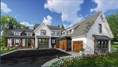 Plan Exciting Farmhouse House Plan With a host of beautiful features like lots of dormers, a handsome metal roof, two walk-in pantries and vaulted ceilings, this Farmhouse house plan is brimming with excitement.The huge vaulted great room has win Modern Farmhouse Plans, Industrial Farmhouse, Farmhouse Design, Farmhouse Style, Farmhouse Ideas, Contemporary Farmhouse Exterior, Modern Industrial, Architectural Design House Plans, Modern House Design