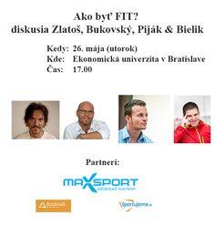 """Zlatoš, Piják, Bukovský, Bielik  26. máj od 17:00 hod sa v Bratislave uskutoční unikátna akcia, na ktorej vystúpi Vlado Zlatoš, Michal Piják a Igor Bukovský  Moderovať bude Viktor Bielik  Bohužiaľ sa nebudem môcť zúčastniť tejto debaty, aj keď som bol pozvaný.   Témy: 1) """"raňajky – áno, či nie"""" 2) """"pšenica – áno, či nie"""" 3) """"kardiovaskulárne ochorenie a výživa"""" 4) """"onkologické ochorenia a výživa"""" 5) """"ketóza"""" 6) """"aká je ideálna strava""""  Lístky 6 e predpredaj a 8 e na mieste"""