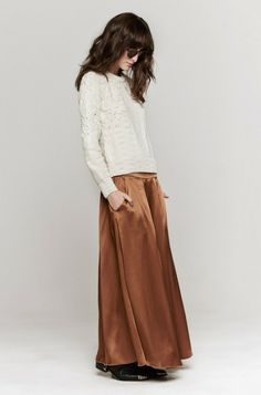 Pleated Satin Skirt In Cammello by Giada Forte