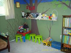Little boys room, Forest themed room that is still incomplete but my 3 year old son absolutely loves., Play and display corner. Boys Bedroom Decor, Bedroom Themes, Boys Room Design, Camping Theme, Boy Room, Little Boys, Forest Bedroom, Fun, Treehouse