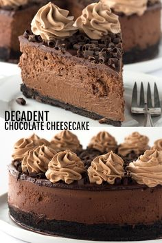 Decadent Triple Chocolate Cheesecake - I'm taking this cheesecake to the next level just for my chocolate lovers! There's a chocolate oreo crust, rich chocolate cheesecake filling and topped with a milk chocolate ganache, chocolate whipped cream and chocolate curls! #cheesecake #decadent #chocolate #dessertfoodrecipes #desserts #dessertrecipes