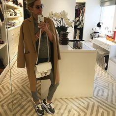Caroline Stanbury wearing the #HOGAN H283 Maxi Platform #sneakers in leather…