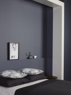 Jotun Lady launched their new color chart last week, and I was there to see all the colors live. With all the talented people working at Jotun Lady, I knew Modern Minimalist Bedroom, Minimalist Home Interior, Minimalist Decor, Small Bedroom Inspiration, Interior Inspiration, Jotun Lady, Best Interior Paint, Bedroom Pictures, Blue Bedroom