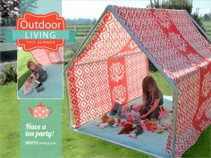 Playhouse Tent - Lounge Cabana: Outdoor Living with Fabric.com | Sew4Home - Detailed tutorial for this very easy-to-make tent. The PVC pipe & fittings are like playing with Tinker Toys.The tent is all straight seams. It assembles in minutes and rolls up for travel/storage.