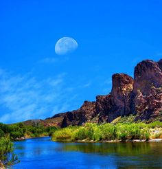 Good morning from Arizona Great Pictures, Moonlight, Good Morning, Arizona, Golf Courses, Twitter, River, Mountains, Landscape