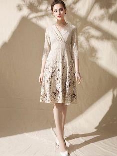 Lace Embroidery Lacing V-Neck Half Sleeve Slim Big Hem Dress