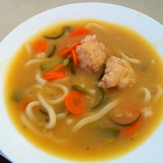Chicken & ginger balls in miso soup