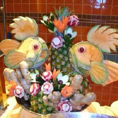 Fish fruit carving