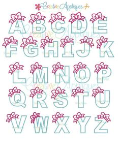 Bow Alphabet Letter Set A-Z Applique Machine Embroidery Design 4 Sizes Alphabet A, Hand Lettering Alphabet, Doodle Lettering, Creative Lettering, Calligraphy Alphabet, Spanish Alphabet, Preschool Alphabet, Alphabet Crafts, Doodle Alphabet