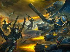 Ultramarines Adeptus Astartes battling Dark Eldar Kabalite warriors and Incubi