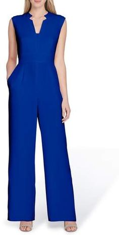 Tahari Crepe Jumpsuit Jumpsuit Outfit, Casual Jumpsuit, Blue Jumpsuits, Jumpsuits For Women, Jumpsuit Pattern, Pants For Women, Clothes For Women, Jumpsuit With Sleeves, Trendy Outfits