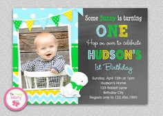 Boys Easter Bunny Birthday Invitation  1st by TheTrendyButterfly