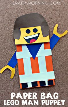Paper Bag Lego Man Puppet Craft for Kids - Crafty Morning