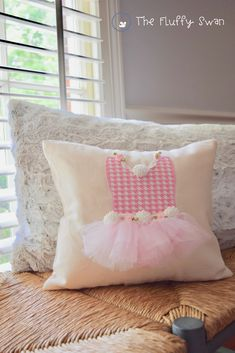 bf541d491cd Pretty pink and white houndstooth check tutu pillow for a sweet ballerina! The  Fluffy Swan