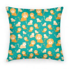 Lion and Lioness Pattern (Teal) #lion #king #pattern #cute #pillow