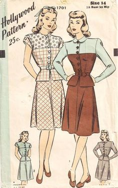 1940's Hollywood 1701 Peplum Blouse and Skirt Pattern