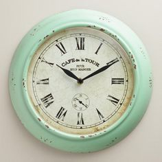 One of my favorite discoveries at WorldMarket.com: Aqua Quinn Bistro Clock