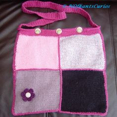 Floral Detail Patchwork Hand Knitted & Crocheted Handbag. £20.00