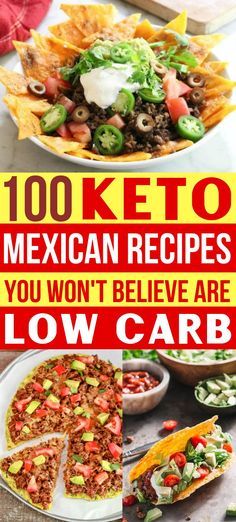 These keto Mexican recipes don't even taste low carb! Yes, you can have all your fav Mexican food dishes on your ketogenic diet!! Try the Keto nachos, healthy tacos, casseroles for easy dinners, LCHF enchiladas & more! #ketorecipes #mexicanfoodrecipes #lowcarbrecipes #healthyrecipes #mexicanfood #keto