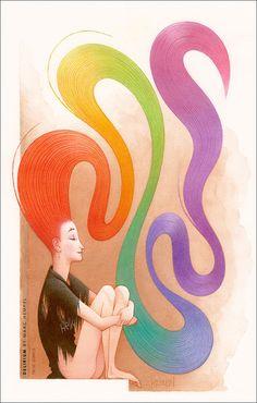Delirium of The Endless, watercolor painting. Auction listing @ http://www.ebay.com/itm/320940508548?ssPageName=STRK:MESELX:IT&_trksid=p3984.m1555.l2649