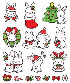Looking for for inspiration for christmas aesthetic?Browse around this website for perfect Christmas inspiration.May the season bring you peace. Christmas Bunny, Christmas Doodles, Christmas Cartoons, Christmas Characters, Christmas Drawing, Christmas Stickers, Christmas Clipart, Christmas Art, Kawaii Drawings