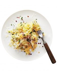 The noodlelike squash delivers just a quarter of the carbs of traditional spaghetti, plus small amounts of carotenoids.