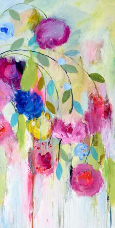 carrie schmitt Abstract Flowers, Watercolor Flowers, Watercolor Paintings, Colorful Paintings, Arte Floral, Art Graphique, Oeuvre D'art, Art Pictures, Flower Art