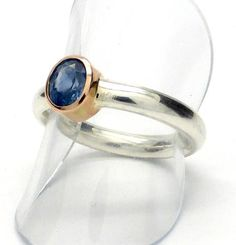 Blue Ceylon Sapphire Ring   Oval Faceted Stone   925 Sterling Silver  Shank   Solid 14 Kt Gold Besel    US Size 8   Genuine Gemstone   Crystal Heart Melbourne Australia since 1986