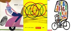 Whimsical ads for scooter and bicycle tires, by Lora Lamm (1959), Bob Noorda (1957) and Riccardo Manzi (1960). © Pirelli