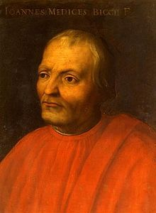 Giovanni di Bicci de' Medici c. 1360 – 1429 He was an Italian, the first historically relevant member of Medici family of Florence. He was given secrets to acquire the Templars fortune this is how he became the founder of the Medici bank.