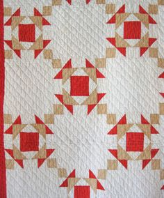 Antique Quilt Crown of Thorns Quilt in Red by RiverHouseDesigns