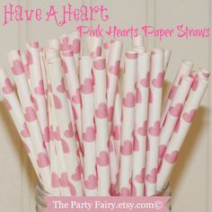 Paper Straws, 25 PINK HEARTS Paper Straws, Drinking Straws, Wedding, Baby Shower, Party, Drinks, Mason Jar Straw, Valentines Party, Pink by ThePartyFairy on Etsy https://www.etsy.com/listing/91310960/paper-straws-25-pink-hearts-paper-straws