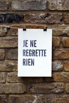 'Je ne regrette rien' (I regret nothing). What Bennett's tattoo says. Beautiful Bastard Series by Christina Lauren