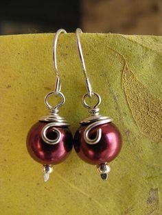 Wine Red Wirewrapped Pearls by bucknear_2008, via Flickr